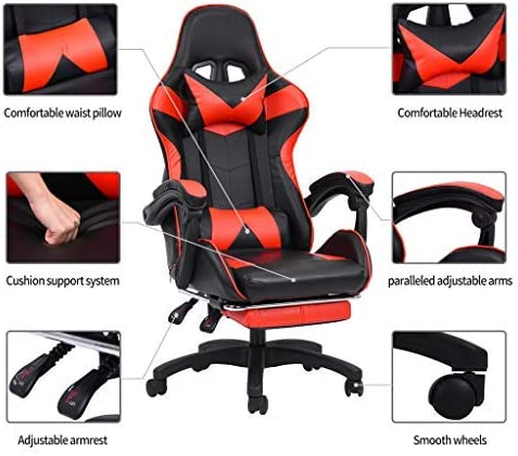 Aiwish Gaming Chair Racing Office Computer Game Chair E-Sports Chair Ergonomic Backrest and Seat Height Adjustment Recliner Swivel Rocker High-Back PC Computer Chair with Headrest and Lumbar Pillow 51dqMWVF9mL