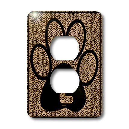3dRose lsp_25945_6 Letter L Standard Cheetah Print Cat Paw Outlet Cover Multi-Color (Cheetah Print Light Switch Cover)