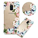 Soft Clear Case for Samsung Galaxy A6 Plus 2018,Flexible Plastic Case,Moiky Creative Colorful Flowers Printed Ultra Thin TPU Gel Silicone Transparent Crystal Slim Fit Back Cover Case