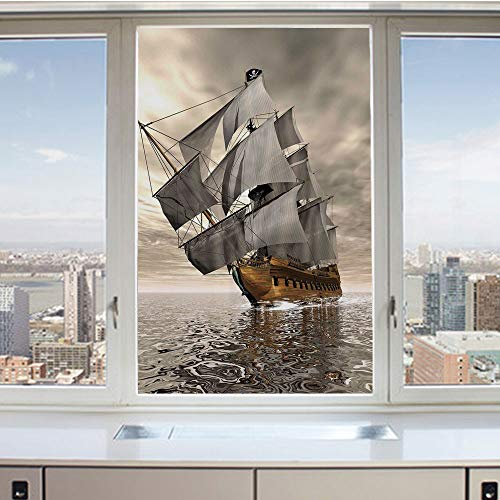 3D Decorative Privacy Window Films,3D Style Pirate Ship Sea Historic Vessel Cloudy Sky Voyage Exploration Theme,No-Glue Self Static Cling Glass film for Home Bedroom Bathroom Kitchen Office 17.5x36 In ()