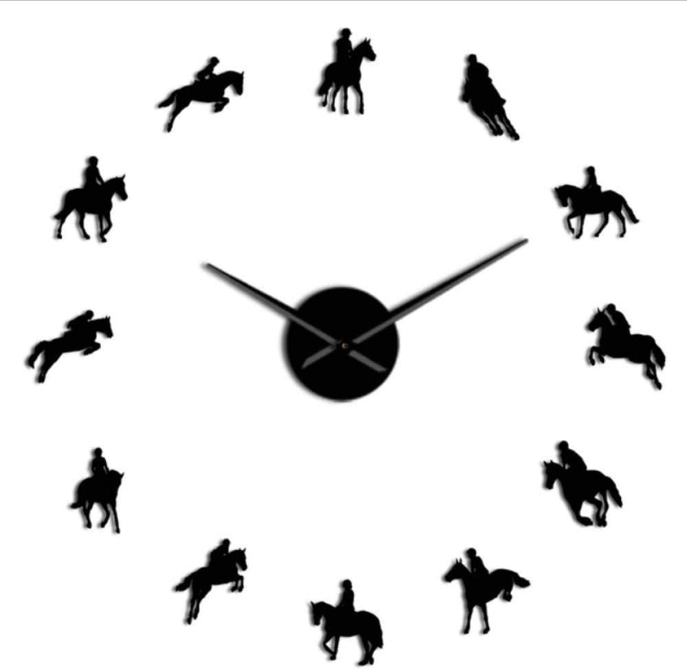 Hyllbb Equestrian sin Marco 3D DIY Reloj de Pared Deportes Modernos Carrera de Caballos Carrera de Espejo de acrílico Reloj de Superficie Reloj de equitación Show-47inch
