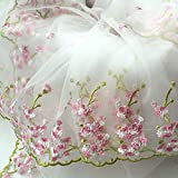 IRIZCO Lace Fabric White Organza Pink Floral Embroidery Wedding Bridal by The Yard