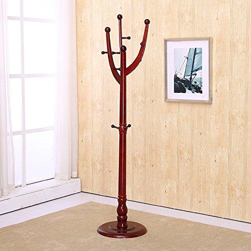 Wood coat rack floor drying rack hanger coat rack shelf wooden coat hanger tree-style coat rack,G