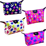 functional HappyDaily Pack of 4 Fashion Design Muliti-functional Bag Makeup bag Cosmetic Pouch Travel Toiletry Carrying Purse (Hotpink Flower/Beige Kiss/Hotpink Kiss/Blue Kiss)