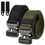(2 Pack) Mens Tactical Nylon Canvas Belt, Military Heavy Duty Waist Belts with Quick Release Buckle, Length 125 CM, Width 3.8 CM