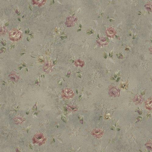 (Mirage 992-43542 Alex Delicate Satin Floral Trail Wallpaper, Olive )