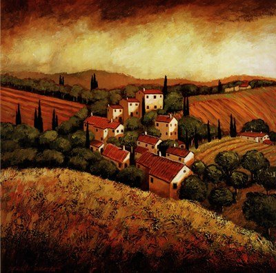 (Tuscan Hillside Village by Santo Devita - 24x24 Inches - Art Print Poster)
