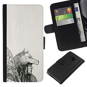 Planetar® Modelo colorido cuero carpeta tirón caso cubierta piel Holster Funda protección Para HTC One M9 ( Native Indian Wolf Woman Spear Art Drawing )