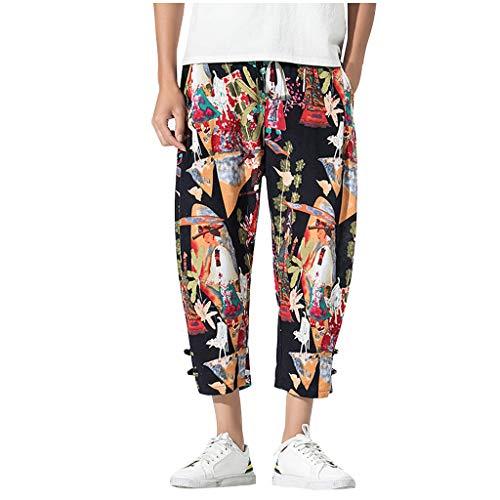 Mens Casual Baggy Cotton Linen Summer Pocket Floral Print Harem Pants Beach Long Shorts (L, Yellow)