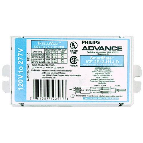 - Advance SmartMate ICF-2S13-H1-LD - (2) Lamp Fluorescent Ballast - 10 Watt CFL - 120/277 Volt - Programmed Start - 1.0 Ballast Factor