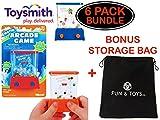 Fun & Toys Inc. Toysmith Mini Handheld Water Aqua Arcade Games Basketball & Fish Food Party Set Bundle - 6 Pack (Assorted Colors) With Bonus Storage Bag