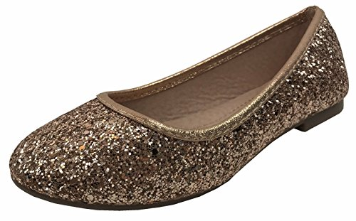 Forever Collection Girls Sequence Coverered Dress Ballet Flats Slip On Karra-29K, Rose Gold, 3 by Forever Collection
