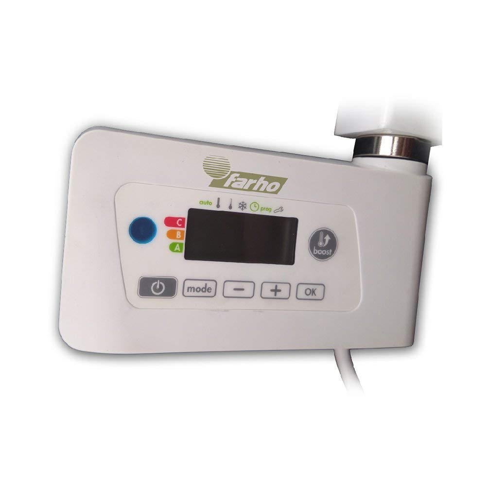farho Radiador TOALLERO Electrico Bajo Consumo Nova Little Blanco /·/· 400 Watios /· Toalleros El/éctricos con Termostato Digital Programable /·/· 5 A/ÑOS de Garantia Medidas 1200 x 500mm