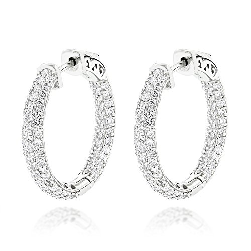 Luxurman 14K Small Inside Out Natural Pave Set 2.9 Ctw Diamond Hoop Earrings (White Gold)