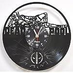 Deadpool Clock Wall Vinyl Marvel Deadpool Men Women Boys Birthday Set Deadpool Decor Home LP Vinyl Clock Art Movie Wall Clock - Deadpool Gift Idea - Deadpool Wall Decor - Deadpool Vinyl Clock Black 6