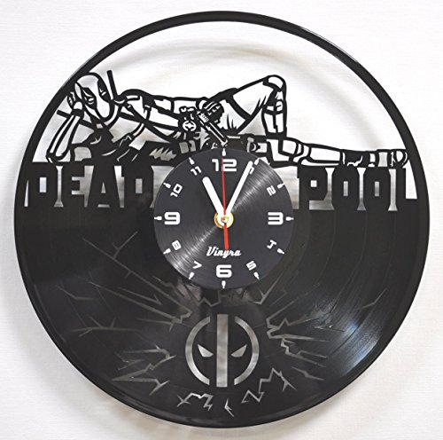 DEADPOOL Vinyl Clock Marvel Wall Art Home Decor Record Wall Clock Superhero Comics Decorations Vintage Kids Room Decor Birthday Gift Movie Decal Children's Gift Idea Decor for Bedroom and (Superhero Decorations Ideas)