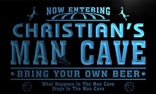 qc235-b Christian's Man Cave Basketball Bar Neon Sign by AdvPro Name