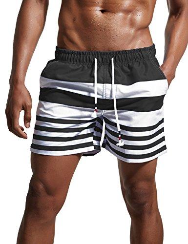 ChinFun Men's Swimsuit Swim Trunks Water Shorts Swimwear Drawstring Stripes Board Shorts Bathing Suits Mesh Lining Brief Side Pockets Dark Grey Size XXXL