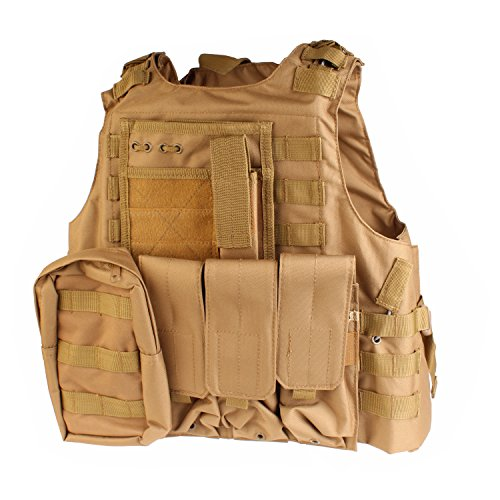 PMLAND Tactical Molle Airsoft Vest Paintball Combat Soft Vest Tan by PMLAND