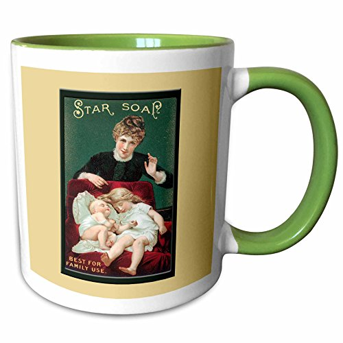 3dRose BLN Vintage Trade Cards Featuring Children Advertising Art - Star Soap Best for Family Use Victorian Era Woman, Small Girl and Baby in a Red Chair - 11oz Two-Tone Green Mug (mug_156866_7) (Trade Card Victorian Soap)