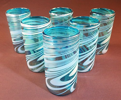 lown, Turquoise & White Iridescent Swirl, 18 oz Set of 6 (Turquoise Recycled Glass)