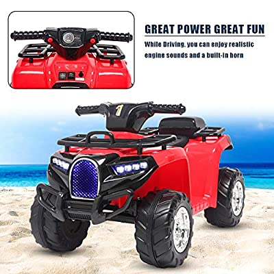 Homgrace Ride On Truck, 6V Battery Electric ATV Car for Kids Toddler, 4-Wheeler Motorized Vehicles Toy Car, LED Lights, Realistic Horns, Music Board (Red): Toys & Games