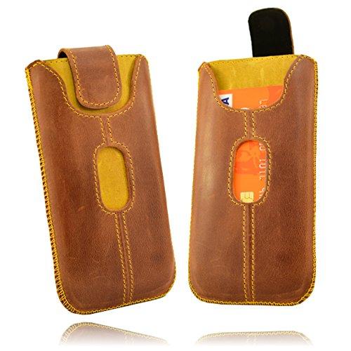 Orline Tasche Echt Leder Case Lederetui Apple Iphone 5 mit Magnetverschluss in der Farbe braun natürliches Leder/gelb Handarbeit Case Cover Etui Holster Leder