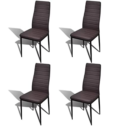 Enjoyable Vidaxl Modern 4 Pcs Brown Slim Line Dining Room Chairs Office Chair Artificial Leather Gmtry Best Dining Table And Chair Ideas Images Gmtryco