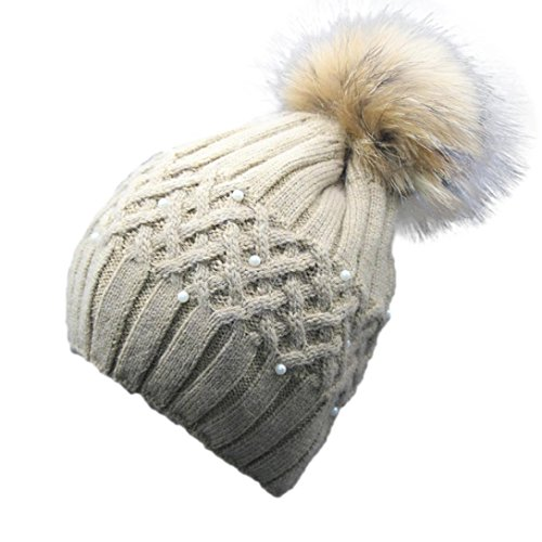 DEESEE Women Winter Pearl Crochet Hat Fur Wool Knit Beanie Warm Cap (Khaki)