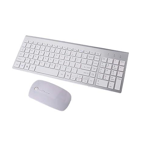 BackToLife - Ratón inalámbrico con Teclado y conexión USB (2,4 G, Ultrafino