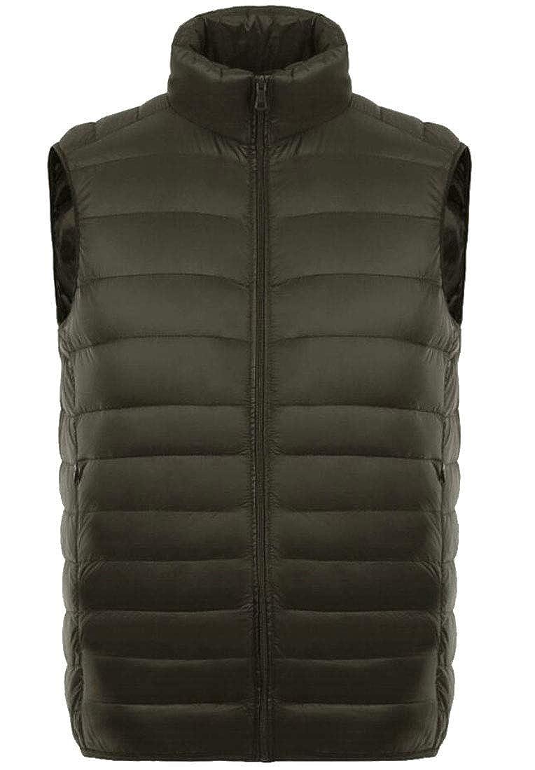 ONTBYB Men Warm Solid Packable Lightweight Down Vest Outdoor Puffer Vest