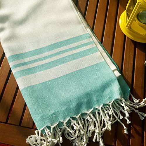 Secret Sea Collection Lightweight Turkish Peshtemal Towel %100 Bamboo 70'' x 35''   (Water Green)