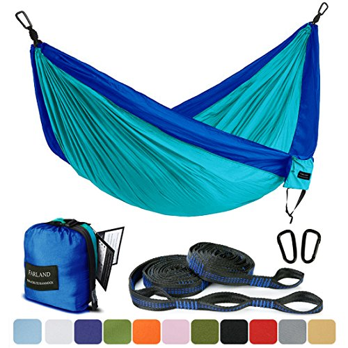 FARLAND Outdoor Camping Hammock – Portable Anti-Fade Nylon Double Hammock with 2 Piece 16 Loop Straps Parachute Lightweight Hammock for Hiking Backpacking For Sale