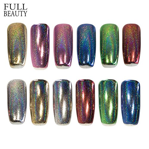 POYING Full Beauty 1 box Holographic Nail Glitter Flakes DIY Powder Manicure Dust Nail Art Decorations Galaxy Glitter CH01-06 by POYING