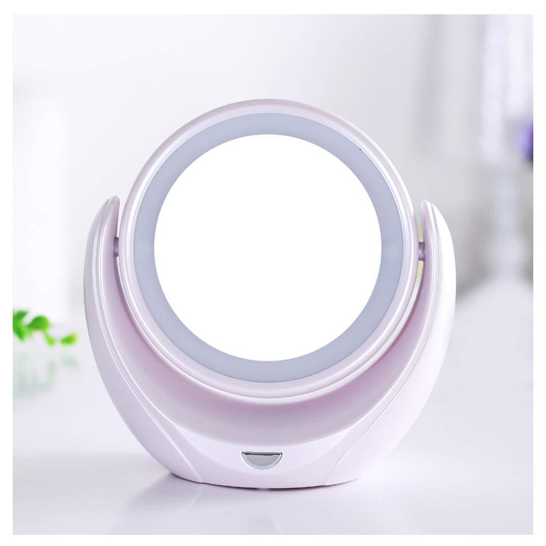 Led brillante espejo cosmético de doble cara 5x ampliación Escritorio HD espejo de vanidad 360 ° giratorio princesa espejo portátil (blanco) Wddwarmhome