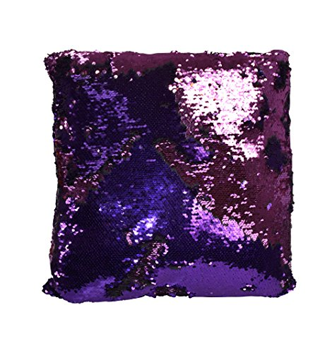 Couture Home Collection Haute Décor Reversible Sequin Decorative Color Changing Mermaid Throw Pillow with Insert (Purple Pink)