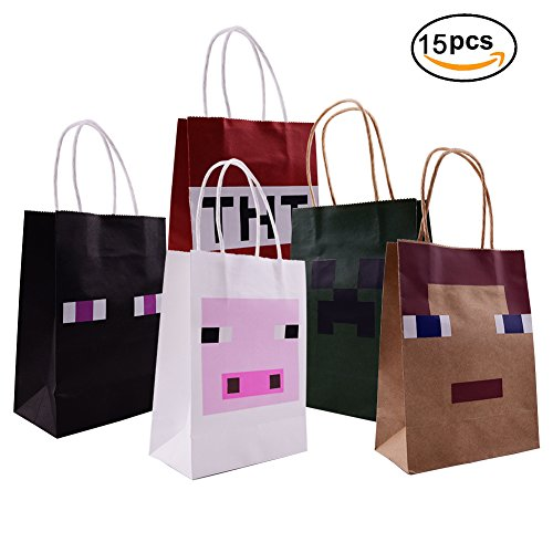 Pixel Miner Gaming Paper Bags 15 Pack For Happy Birthday Party Favor (Party Minecraft)