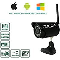 (2017 Version) NuCam WR Water Resistant Outdoor 720p HD Portable Wireless Rear View Camera Magnetic Base for RV Trailer Hitch Truck Camping w. 32GB Memory, Night Vision,Hard Wire Kit & Lithium Battery