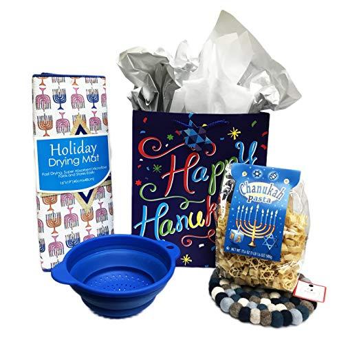 Chanukah Stars & Dreidel Shaped Pasta Blue Collapsible Pot Strainer Hanukkah Dish Drying Mat & Pom Pom Trivet Holiday Gift Bundle