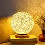 Table Lamp Bedside Desk Lamp Night Light for Kids Gift for Women Warm White Light Rattan Ball Style Button Switch in Bedroom Living Room Girl Boy For Sale