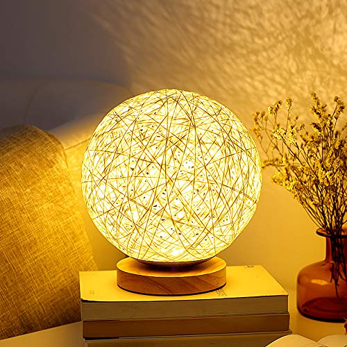 Mydethun Desk Lamp for Living Room for Bedrooms Bedside Lamp Birthday Gifts for Women for Kids Home Living Room Bedroom Decor Solid Wood Rattan Moon lamp