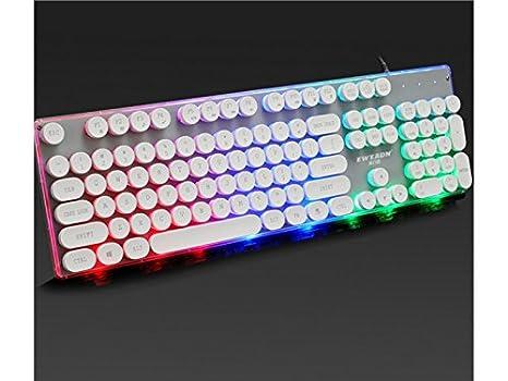 YesDone Teclado retroiluminado para Juegos mecánicos Teclas estándar Teclado USB Vintage (Blanco) Teclado para Juegos: Amazon.es: Electrónica