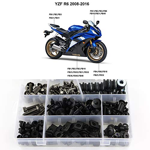Xitomer Complete Bodywork Screws, for Yamaha YZF-R6 2008 2009 2010 2011  2012 2013 2014 2015 2016, Full Set Fairing  Bolts/Washers/Nuts/Clips/Grommets