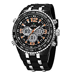 WEIDE Men's LED Analog Digital Display Backlight Dual Time Zones Quartz Stainless Steel Alarm Sport Wristwatch