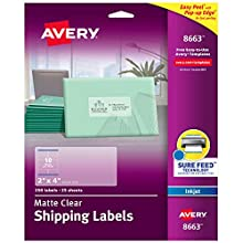 """Avery Matte Frosted Clear Address Labels for Inkjet Printers, 2"""" x 4"""", 250 Labels (8663)"""
