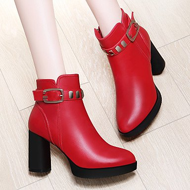 Evening Ankle Fall Winter Women'S 5 CN38 Booties RTRY US7 Boots Synthetic Bootie amp;Amp; UK5 Chunky Dress Boots Fashion Party Boots Red For Heel Shoes Black 5 EU38 TAnq7