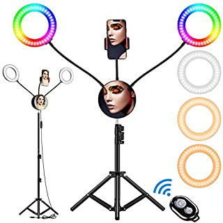 "6.6"" RGB Selfie Ring Light, Double LED Ringlight 3200-6500K with Mirror & Tripod Stand for Live Stream/Make Up/YouTube/TikTok/Photography/Video Recording Compatible with iPhone & Android Phone"