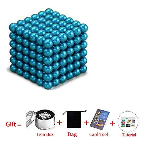 (Beautychen Magnetic Cube 216pcs 5mm Magnets Blocks Magnetic Square Cube Children's Puzzle Magic Cubes DIY Educational Toys for Kids Intelligence Development and Stress Relief (Light Blue) )