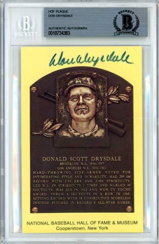 Don Drysdale Autographed Signed HOF Plaque Postcard Los Angeles Dodgers Memorabilia Beckett Authentic