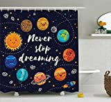 Ambesonne Quotes Decor Shower Curtain Set, Cute Outer Space Planets and Star Cluster Solar System Moon and Comets Sun Cosmos Illustration, Bathroom Accessories, 84 inches Extralong, Multi